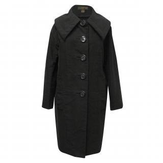 Louis Vuitton Black Button Front Wool Coat