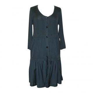 JAEGER airforce blue silk dress, size L
