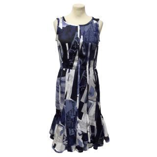 Oscar De La Renta Blue Print Dress