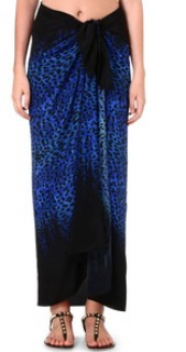 Gottex Blue Leopard Print Sarong