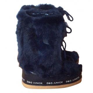 Dolce & Gabbana girls navy blue fur snow boots