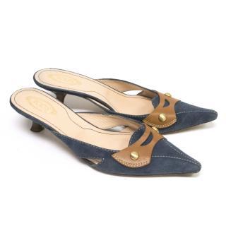 Tod's Suede Blue Kitten Heels