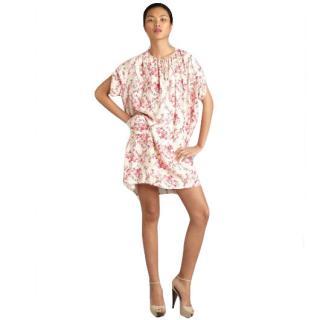 Balenciaga Silk Floral Cherry Blossom Print V-neck Tie Collar Dress