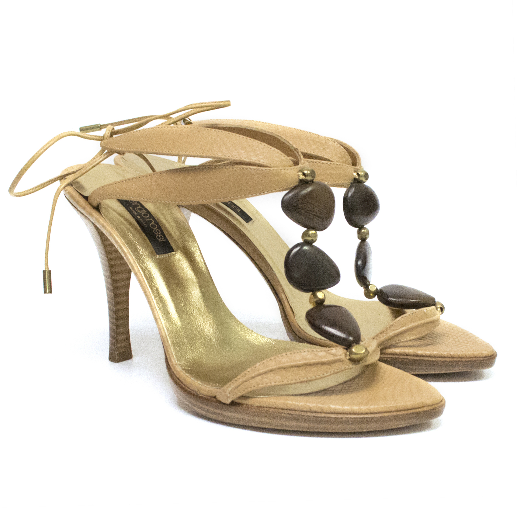 Sergio Rossi Leather and Wood Heeled Sandals