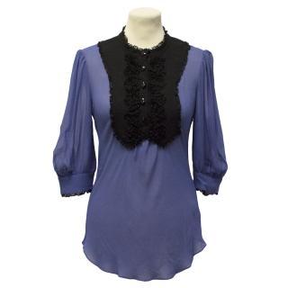 Temperley Blue Silk Top