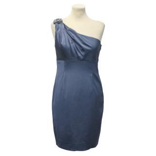 David Meister Blue One Shoulder Dress