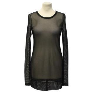 Vera Wang Mesh Long-Sleeve Dress