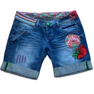 Desigual Sequin Embellished Denim Shorts