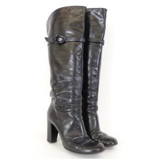 Pollini Black Over Knee Boots