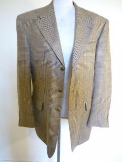 Tommy Hilfiger Mens Silk and Wool Blend Camel Brown Hearing Bone Blazer