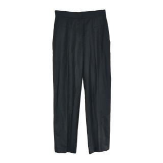 Stella McCartney Double Waisted Black Wool Trousers
