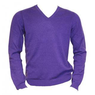 Falke Cashmere v-neck purple jumper
