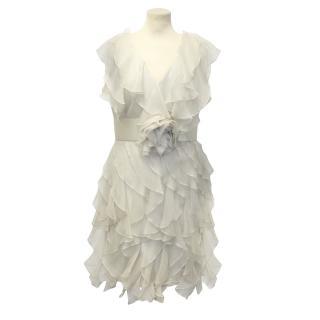 Marchesa Notte Silk Organza Ruffle Dress