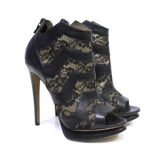 Nicholas Kirkwood Black Leather and Lace Platform Ankle Boots