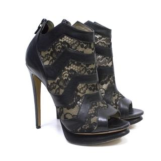 Nicholas Kirkwood Black Leather and Lace Platform Ankle Boots
