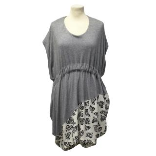 Thakoon Grey Jersey And Silk Print Dress