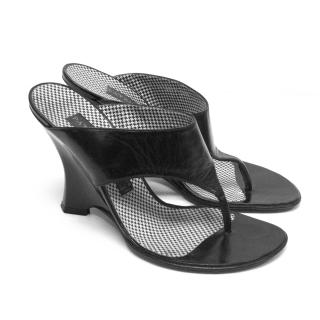 Patrick Cox Black Leather Wedge Sandals