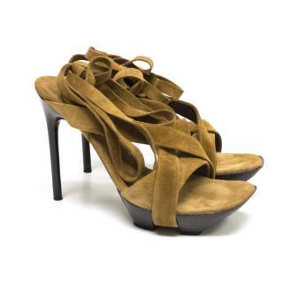 Casadei Brown Suede Platform Sandals