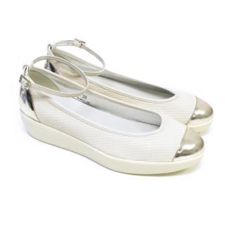 Hogan Cream Leather Ballerina Flatform Shoes