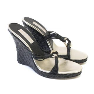Michael Kors Black Wedge Heeled Sandals