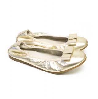 Equerry Metallic Gold Ballerina Shoes
