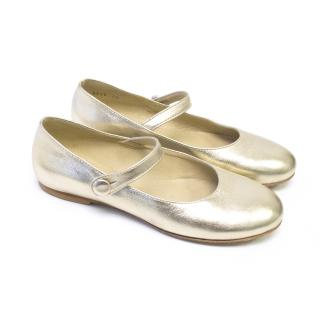 Papouelli Metallic Gold Shoes With Strap