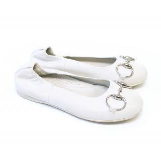 Gucci Kids White Ballerina Pumps