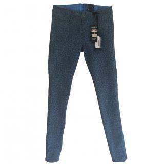 Bleulab Blue Reversible Animal Print Jeans