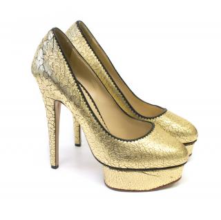 Charlotte Olympia Priscila Gold Leather Courts