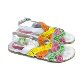 Mi Mi Sol Kids Silver and Multi Colour Embellished Sandals