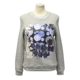 Michael Van Der Ham Grey Sweater with Floral Graphic