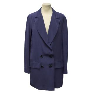 Freda Navy Blue Silk Blazer