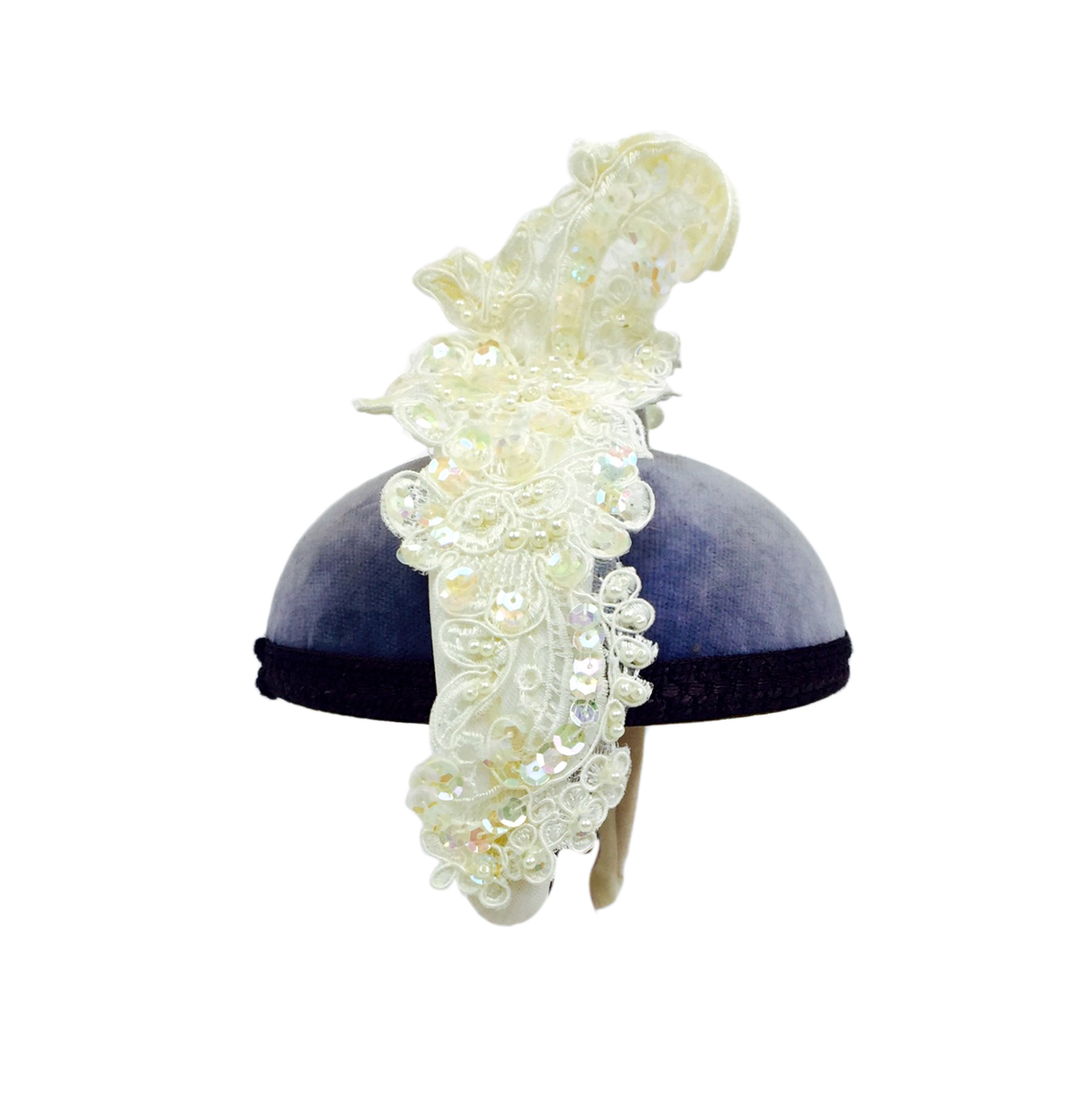 Yvette Jelfs hand embroidered lace bridal headpiece