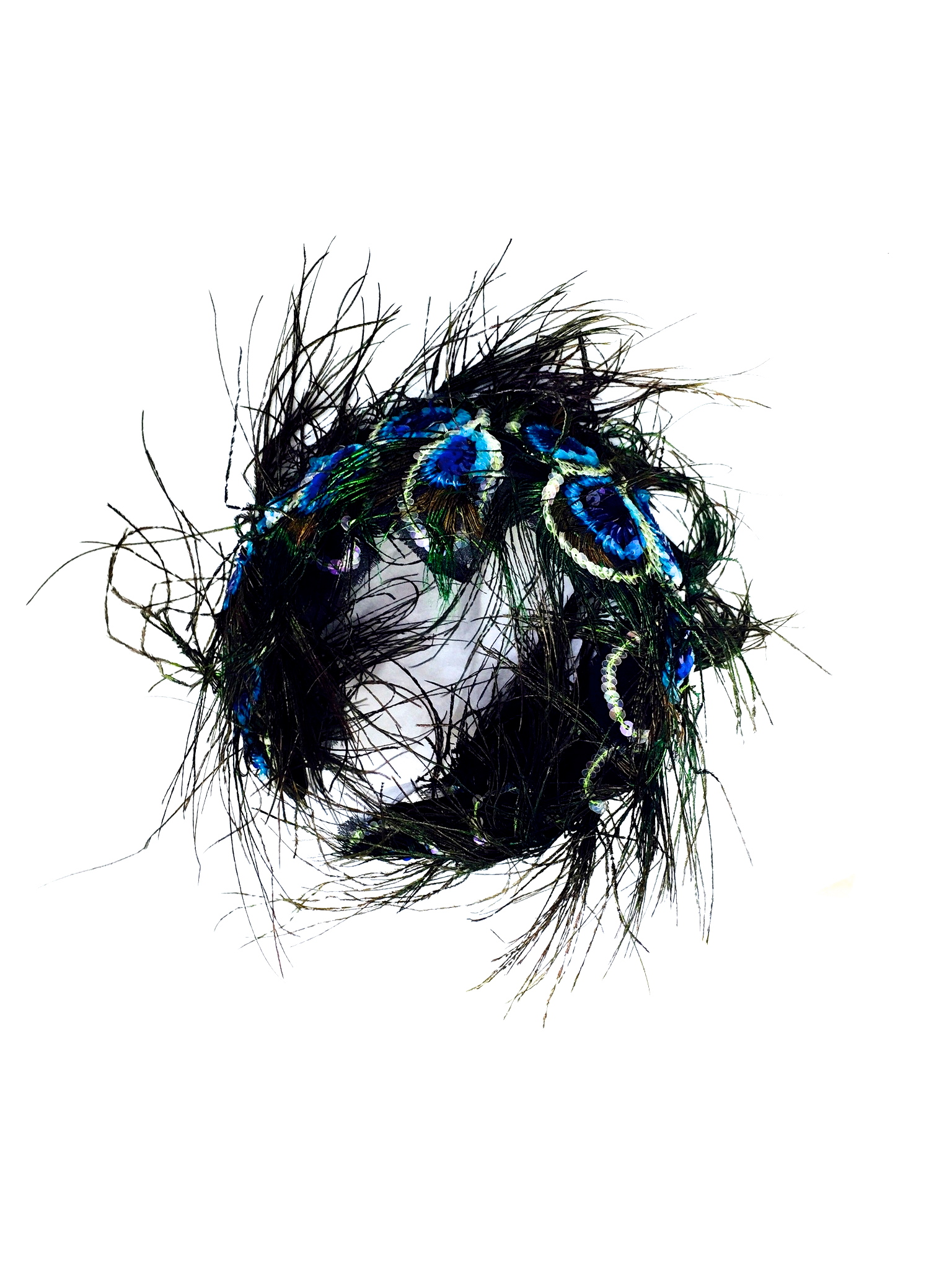 Yvette Jelfs Sequinned Peacock Feather Headband