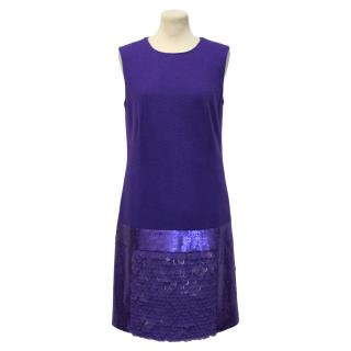 Laurel Purple Sequin Wool Dress