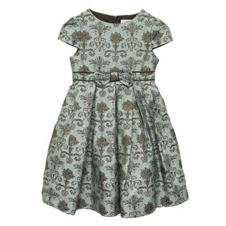Harrods Blue and Brown Baroque Print Dress
