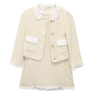 Dolce & Gabbana Cream and White Woven Cardigan and Dress