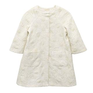 I Pinco Pallino Cream and Gold Jacket with Floral Pattern