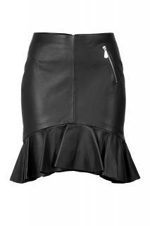 MCQ Alexander McQueen Leather Skirt with Ruffle Hem