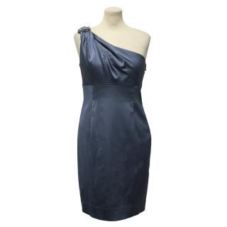 David Meister Blue Satin One Shoulder Dress