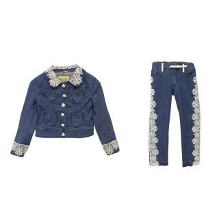 I Pinco Pallino Denim and Crochet Jacket and Jeans