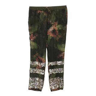 Pinko Floral Patterned Sheer Trousers with Embellishment