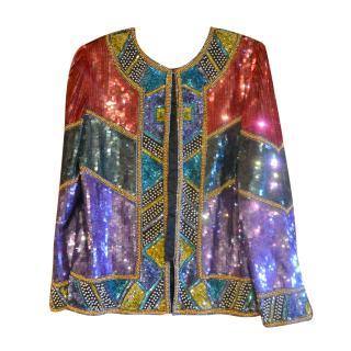 Vintage Laurence Kazar sequined evening jacket