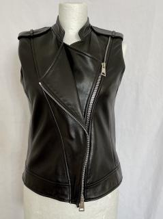 Bouchra Jarrar Black Leather Gilet