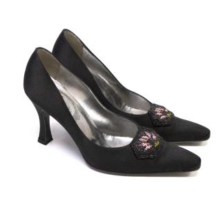 Rene Caovilla Black Court Shoes