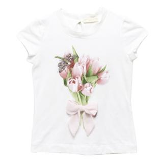 Monnalisa Chic White T Shirt with Flower Graphic