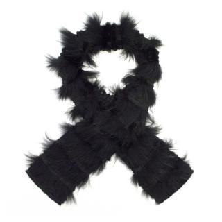 Hockley Black Fox/Rabbit Fur Layered On Fabric Scarf