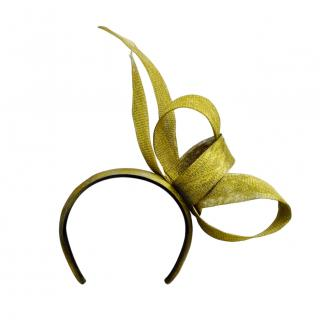 Yvette Jelfs Golden Sinamay Loop and End Headpiece