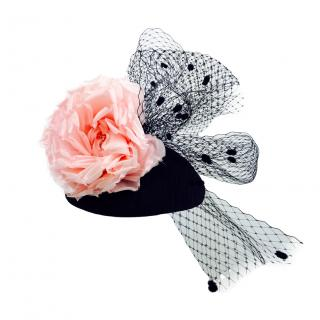 Yvette Jelfs Black pillbox with Black veiling and Pink Silk Rose