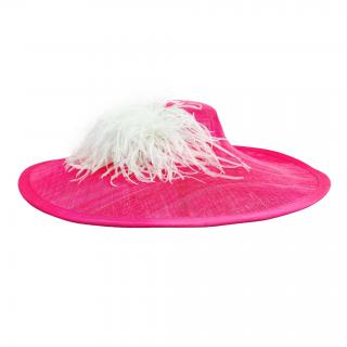 Yvette Jelfs Large Brim Pink Hat with Ostrich Feather Trim